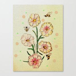 Cosmo Flowers with Bees Canvas Print