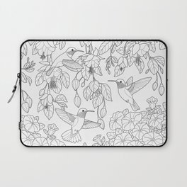 Hummingbirds and Flowers Coloring Page Laptop Sleeve