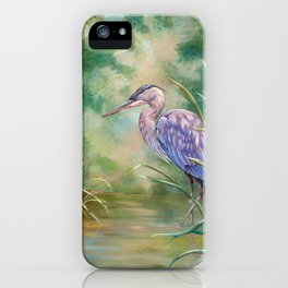 """Solitude"" - Pastel of Great Blue Heron iPhone Case"