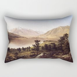 Upper Twin Lakes In The Colorado 1865 By David Johnson | Reproduction | Romanticism Landscape Painte Rectangular Pillow