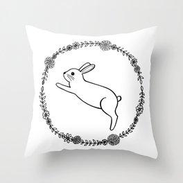 Hopping bunny Throw Pillow