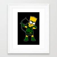 green arrow Framed Art Prints featuring Arrow by Betmac