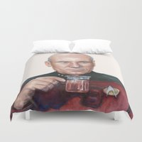 picard Duvet Covers featuring Tea. Earl Grey. Hot. Captain Picard Star Trek | Watercolor by Olechka