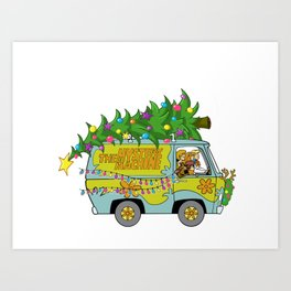 Scooby Do Mystery Machine Merry Christmas Velma Fred Daphnie Shaggy Art Print