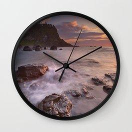 The Dunluce Castle in Northern Ireland at sunset Wall Clock