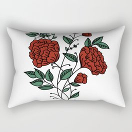 Dark Red Peonies Rectangular Pillow