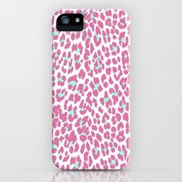 Pink teal girly hipster modern animal print iPhone Case