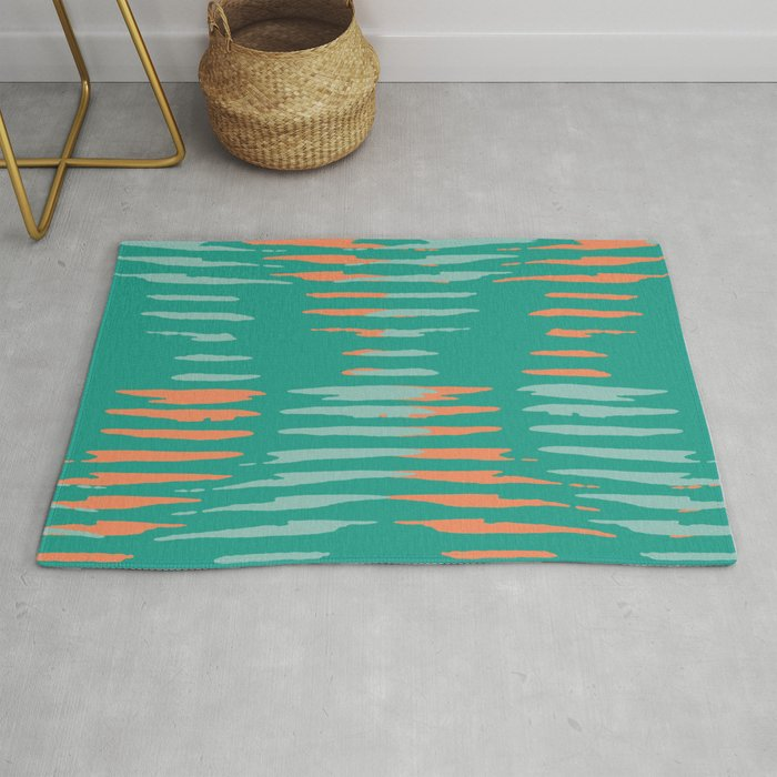 Teal and Coral diagonal retro pattern Rug