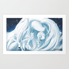 Alolan Ninetails and Vulpix Art Print