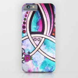 Bright Beautiful Watercolor Celtic Pagan Triquetra iPhone Case