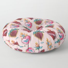 Sacred Hearts on pink  Floor Pillow