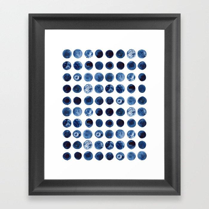 Blueberries   Watercolour Pattern Gerahmter Kunstdruck