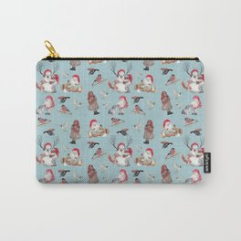 Teal gnome pattern - Christmas Carry-All Pouch