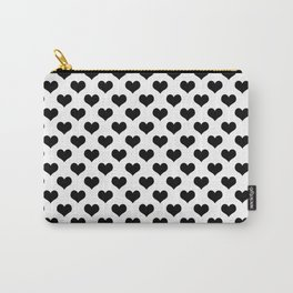 White & Black Hearts Carry-All Pouch