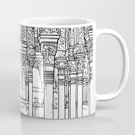 Alhambra palace, Granada, Andalucia - Spain-Black & White Coffee Mug
