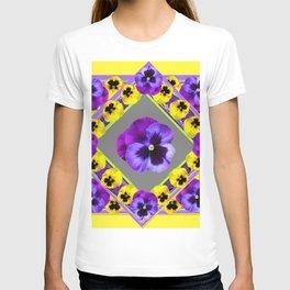 GEOMETRIC  PURPLE & YELLOW  PANSIES ON BUTTER YELLOW T-shirt