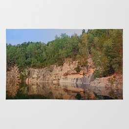 Granite rocks at the natural lake | waterscape photography Rug