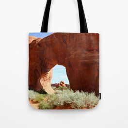 At The End Of The Trail - Pine Tree Arch Tote Bag