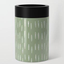 Raindrop Boho Abstract Pattern, Sage Green Can Cooler