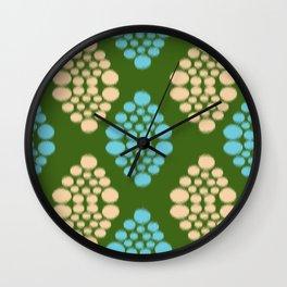 green ikat Wall Clock