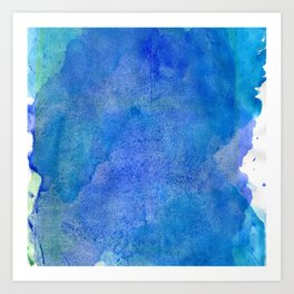 Hand painted abstract blue green watercolor brushstrokes Art Print