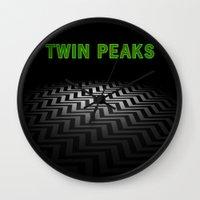 twin peaks Wall Clocks featuring Twin Peaks  by Spyck