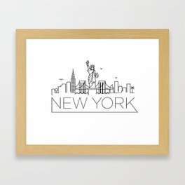 Minimal New York Skyline Design Framed Art Print