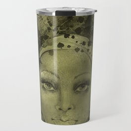 Abstract  Female Face with  card suits Travel Mug