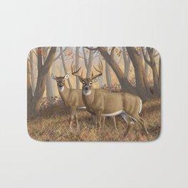 Whitetail Deer Trophy Buck and Doe in Autumn Bath Mat
