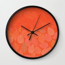 LEAVES ENSEMBLE ORANGE FLAME Wall Clock
