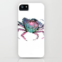 Crab Turquoise Blue Pink Crab Design iPhone Case