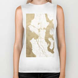 Seattle White and Gold Map Biker Tank