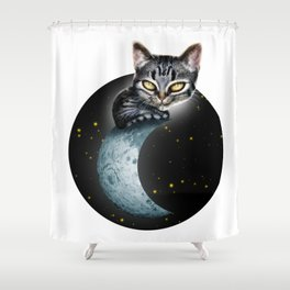 CAT ON THE MOON Shower Curtain