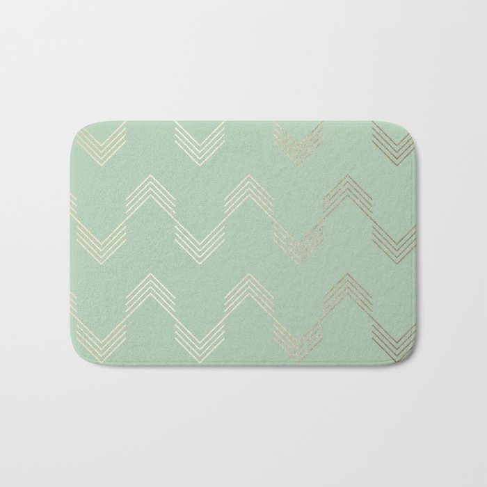 Simply Deconstructed Chevron in White Gold Sands and Pastel Cactus Green Bath Mat