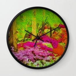 'Alone in Twilight with Rhododendrons' landscape painting by Jeanpaul Ferro Wall Clock
