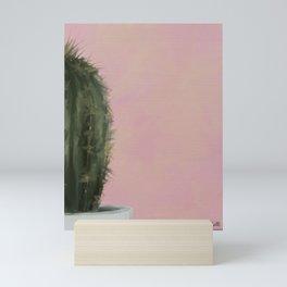 Pink Cactus, Impressionist Digital Painting Mini Art Print