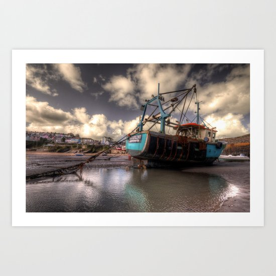 The Old Trawler at New Quay  Art Print