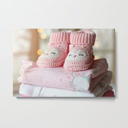 It's a Girl! / Baby Booties & Clothes Metal Print