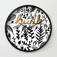 hustle Wall Clocks featuring Hustle by wildpink