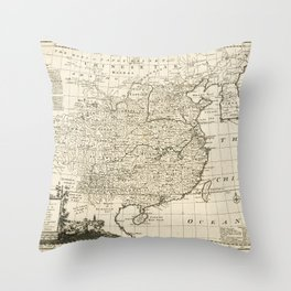 Map of China by Emanuel Bowen (1766) Throw Pillow