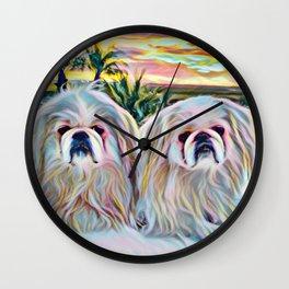 Peke sunset Wall Clock