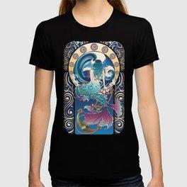 Blue Mermaid with anchor art nouveau design T-shirt