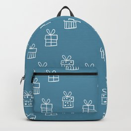 White Christmas gift box pattern on Blue background Backpack