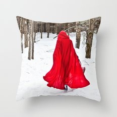 Little Red Riding Hood Runs Through The Woods In Winter Throw Pillow