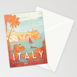 Italy, Cinque Terre Vintage Travel Poster Stationery Cards
