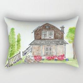 Lamb's House, Custom Watercolor Rectangular Pillow