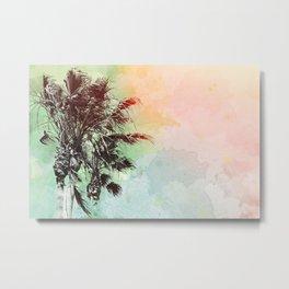 Watercolor Palm Trees- Rainbow Edition Metal Print