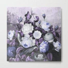 Periwinkle Roses Gray Birds Temple of Flora Metal Print