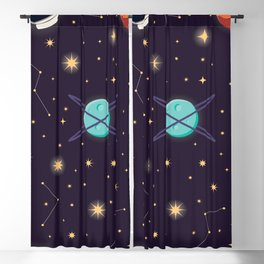 Universe with planets, stars and astronaut helmet seamless pattern 001 Blackout Curtain