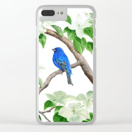 Royal Blue-Indigo Bunting in the Dogwoods by Teresa Thompson Clear iPhone Case